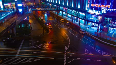 osaka : A timelapse of the street at the downtown in Osaka at night high angle Stock Footage