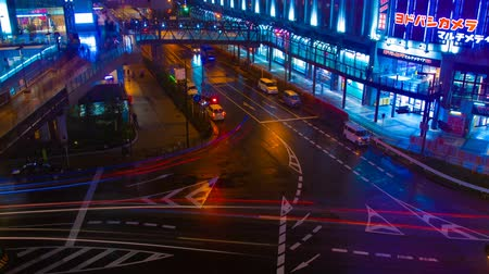 esposizione : A timelapse of the street at the downtown in Osaka at night high angle Filmati Stock