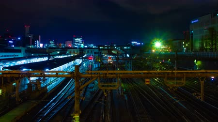 tokyo station : A timelapse of the train at Ueno station at night wide shot