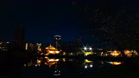 awesome : A timelapse of sunset near the pond at the traditional park in Ueno Tokyo wide shot