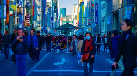 pedestrian crossing : A timelapse of the city street at the downtown in Ginza Tokyo daytime