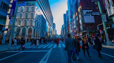 crosswalk : A timelapse of the city street at the downtown in Ginza Tokyo daytime wide shot
