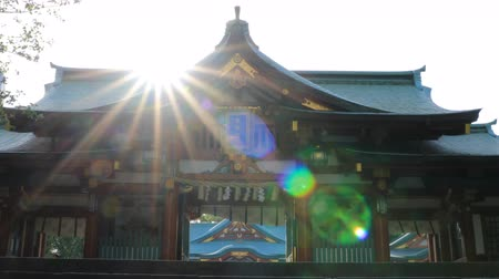 jinja : Main temple at Hie shrine in Tokyo Stock Footage