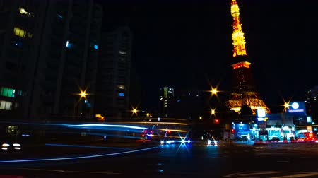 японский : A timelapse at the crossing behind the high tower in Tokyo Стоковые видеозаписи