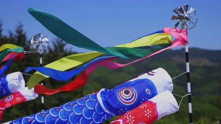 флаг : Carp streamers at Ryujin big bridge in Ibaraki daytime sunny