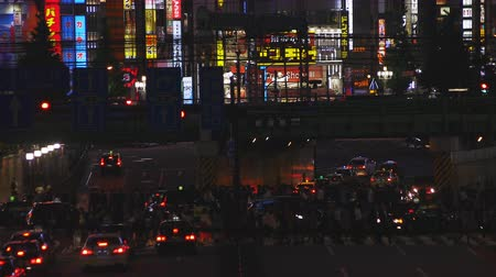 metropolitní : The crossing near the railway at the business town in Shinjuku Tokyo at night