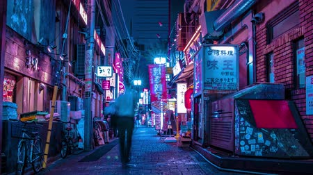 A night timelapse of the neon street at the downtown in Nakano Tokyo