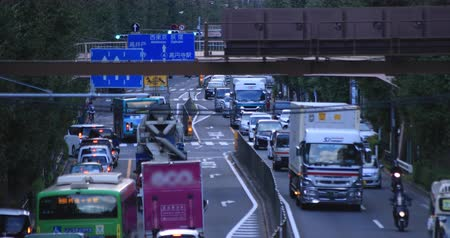 Moving cars at Oume avenue in Tokyo daytime long shot Vídeos