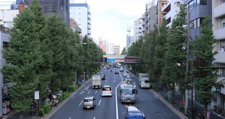 crossing road : Moving cars at Oume avenue in Tokyo daytime wide shot
