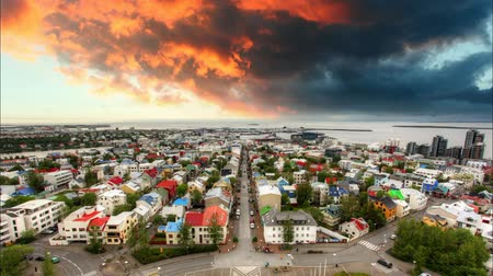 hallgrimskirkja : Reykjavik cityspace, time lapse at sunset Stock Footage