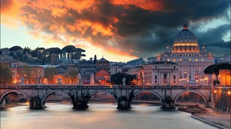 rzym : Rome - Vatican at sunset,time lapse