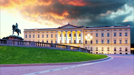 İskandinavya : Oslo - Royal palace, Norway Stok Video