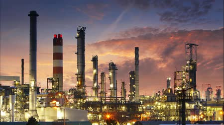 gas : Oil and gas refinery - Industry Time lapse Stock Footage