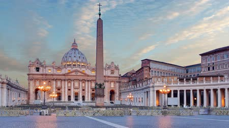 petrus : Vaticaan - Saint Peter's plein in Rome, Time lapse Stockvideo