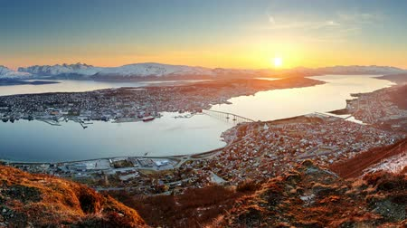 panorâmico : Tromso at sunset, Norway Stock Footage