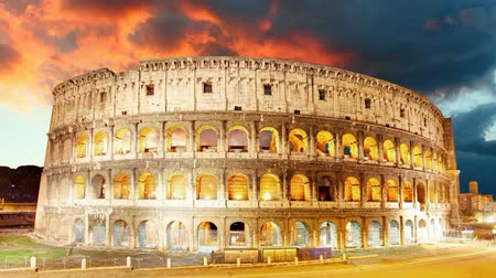 rzym : Colosseum, Rome, Italy - Motion Time lapse Wideo