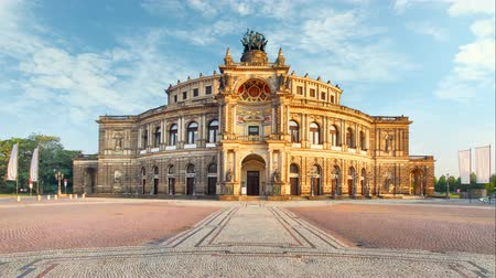 germania : Dresden - Semperoper, Germania - Lasso di tempo Filmati Stock