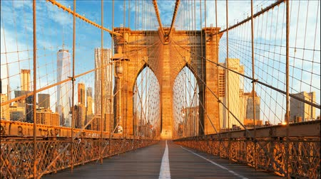čas : New York, Brooklyn bridge, Manhattan, USA - Time lapse