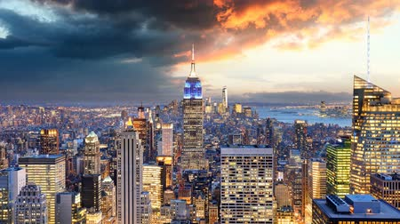 uitzicht op stad : New York City - Time lapse, Verenigde Staten Stockvideo