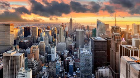 táj : New York skyline at sunset, USA, Time lapse