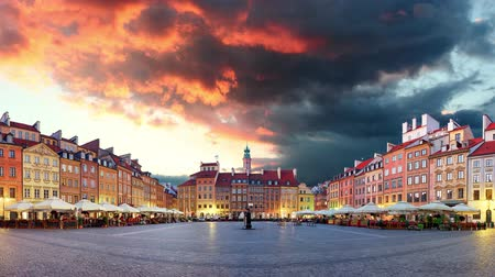 Warsaw, Market square, Poland, Time lapse at sunset, nobody