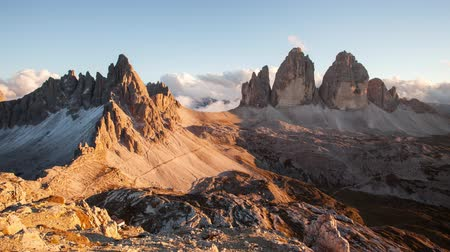 Italy mountain Dolomites Alps - Tree cime di Lavaredo, Time lapse at sunset