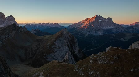 Time lapse - Mountain at autumn sunrise, Dolomites, Italy, Mt. Pelmo
