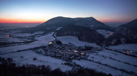 Time lapse Sunset to night with village mountain landscape