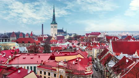 Tallinn, Estonia old city - Time lapse at day Стоковые видеозаписи