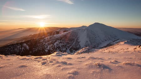 Time lapse Sunset in mountain at winter, Slovakia, Mala Fatra