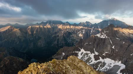 Tatra mountain Time lapse  video from peak Rysy