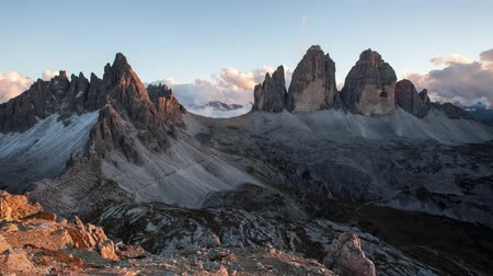 Italy mountain Dolomites Alps - Tree cime di lavaredo, Time lapse Стоковые видеозаписи