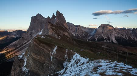 Witner autumn mountain at sunset, Val Gardena from peak Seceda - Time lapse
