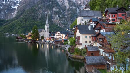 Austria landscape, village Hallstatt time lapse day to night Стоковые видеозаписи