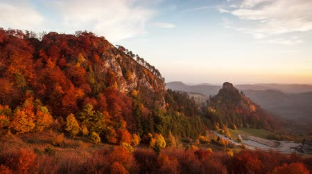Autumn panorama landscape at sunset in Slovakia, Vrsatec, Time lapse Стоковые видеозаписи