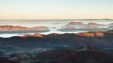 Landscape time lapse at sunrise with mist in valley, Slovakia peak Klak