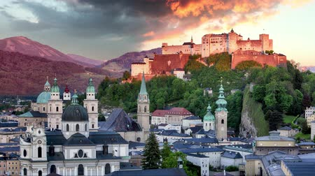 Time lapse of Salzburg castle, Austria at sunset Стоковые видеозаписи