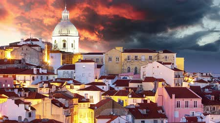 miradouro : Lisbon skyline at sunset, Alafama - Portugal, Time lapse