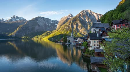 Time lapse of Mountain landscape in Austria Alp with lake, Hallstatt