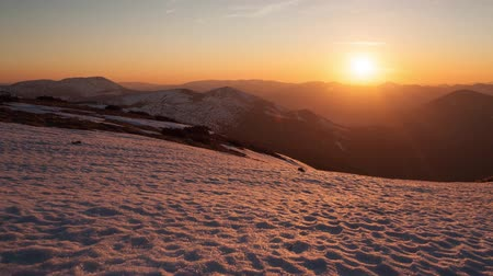 Winter mountain time lapse at sunset, Low Tatras, Slovakia