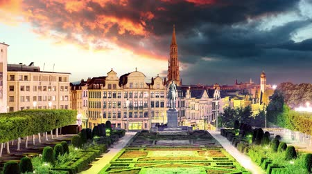Brussels cityscape at night,  Belgium skyline, Time lapse