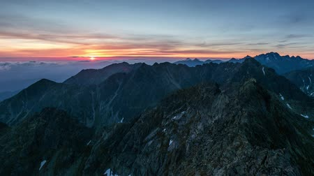 Time lapse - Panorama of mountain landscape in Tatras at sunrise