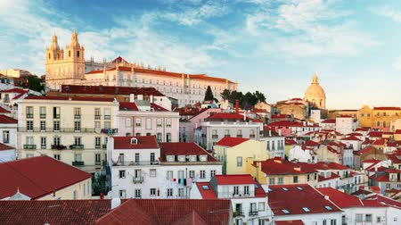 Lisbon, Portugal town skyline at Alfama. Time lapse