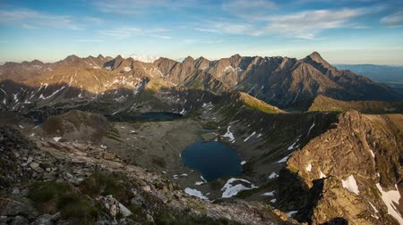 Beutiful Tatras nature summer landcape with mountain and lake - Time lapse Стоковые видеозаписи