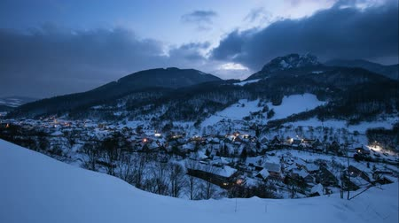 Night at Winter with beautiful village, Slovakia, Time lapse Стоковые видеозаписи