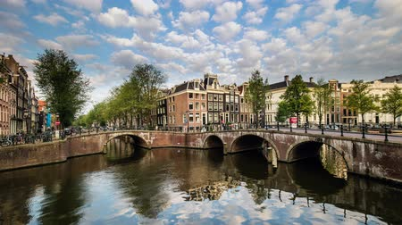 Bridges over canals in Amsterdam, Netherlands, Time lapse