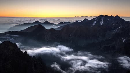 Time lapse Mountain sunset landscape in Tatras, Rysy, Slovakia