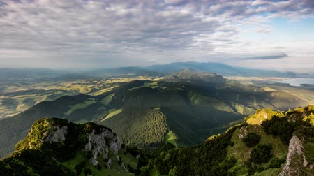 Time lapse Mountain valley during sunrise, Natural summer landscape in Slovakia
