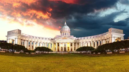 nevsky : Kazan cathedral in Saint Petersburg, Russia, Time lapse of sunset