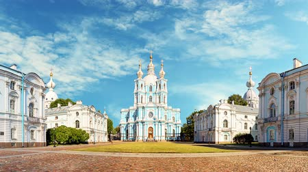 St. Petersburg - Smolny Monastery cathedral in Russia - Time lapse Стоковые видеозаписи